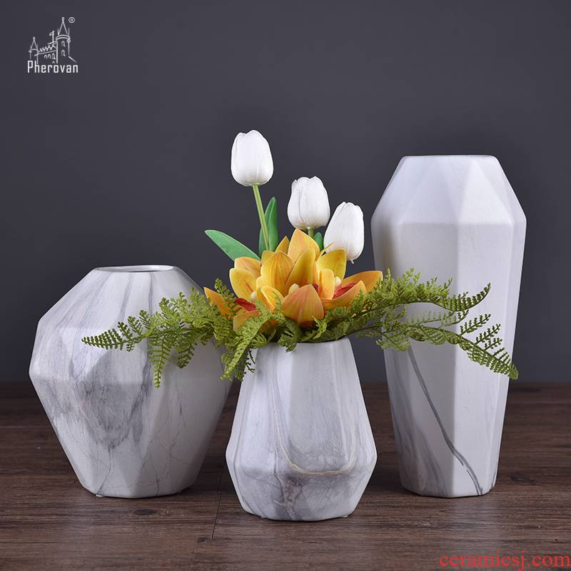 The modern marble ceramic vases, flower implement furnishing articles furnishing articles creative floral desktop sitting room The mock up room