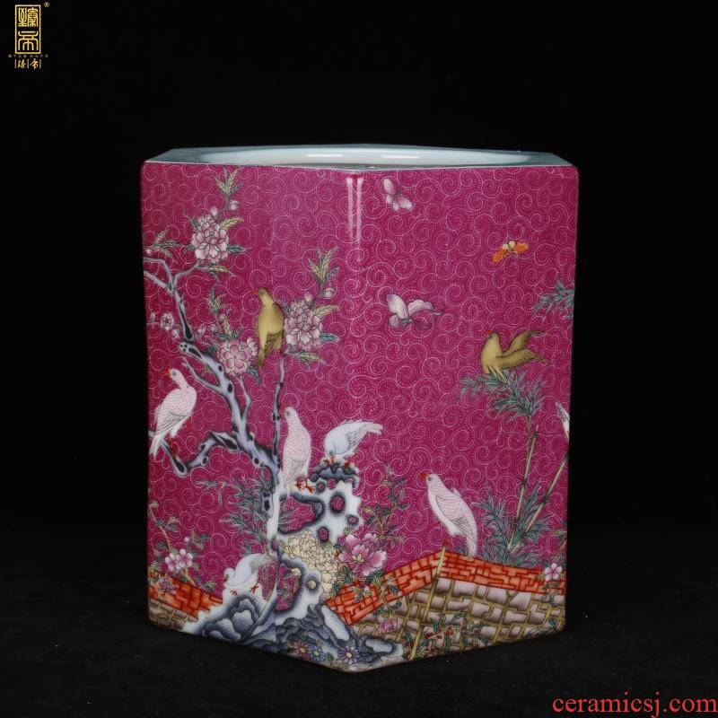 Archaize of jingdezhen porcelain yongzheng colored enamel painting of flowers and the six - party big brush pot pen sea Chinese four desk office furnishing articles