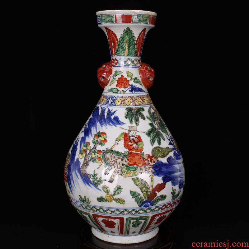 Jingdezhen blue and white antique imitation yuan antique color bucket color restoring ancient ways up after han xin decoration old items collection