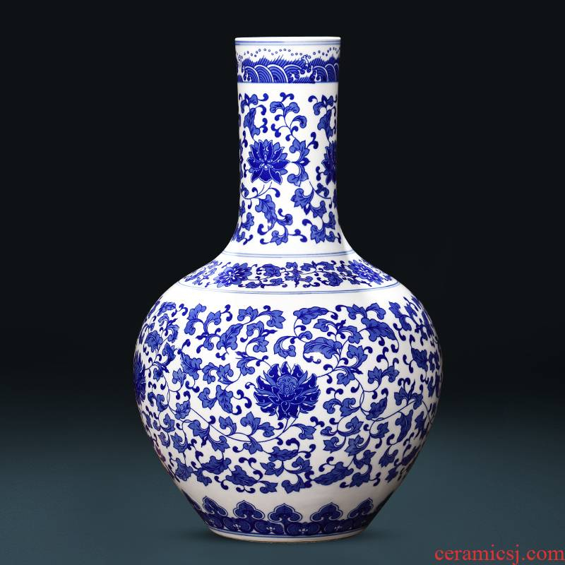 Jingdezhen ceramics antique blue and white porcelain vases, flower arranging large sitting room of the new Chinese style household decorations furnishing articles