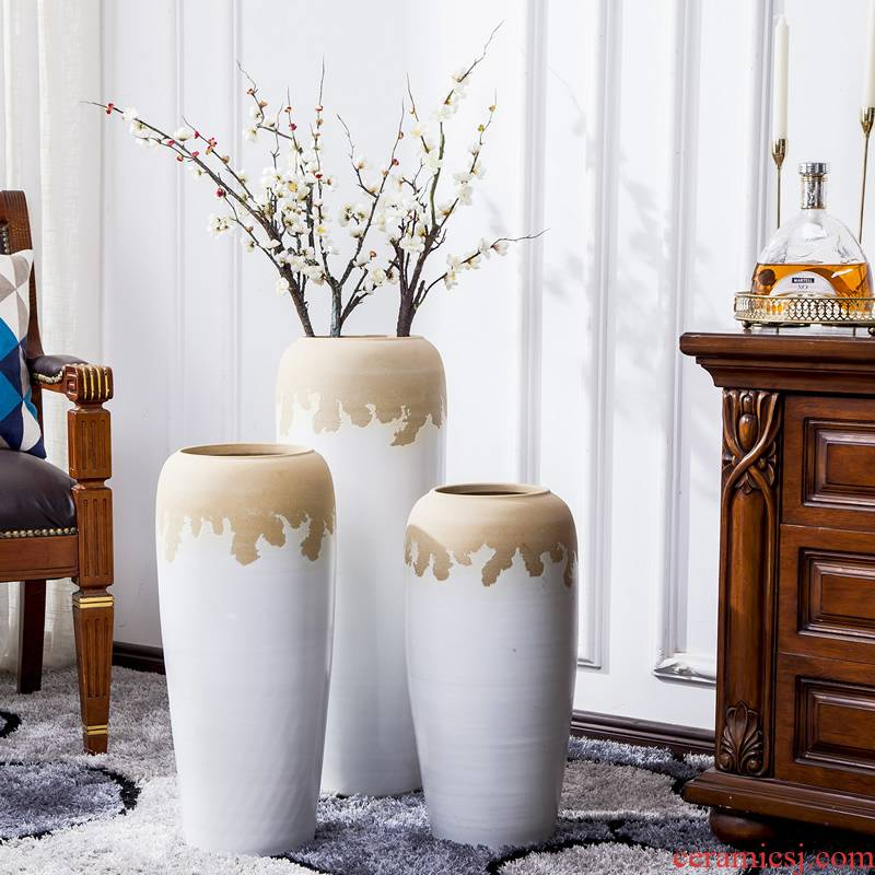 Jingdezhen big vase landed sitting room of I and contracted flower arranging dried flower adornment is placed large lucky bamboo decoration
