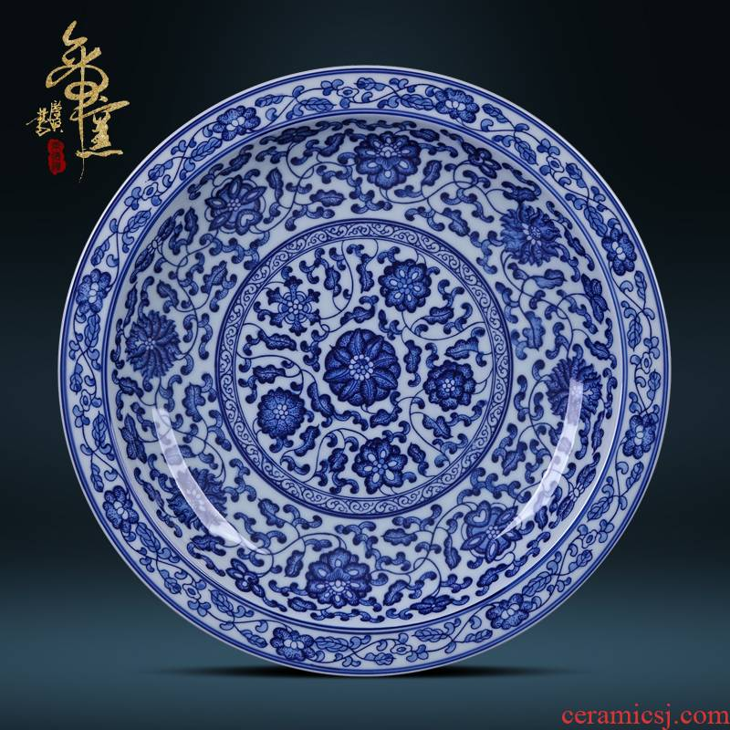 Jingdezhen ceramic decoration plate sit plate hanging dish special hand - made antique blue and white lotus flower porcelain crafts