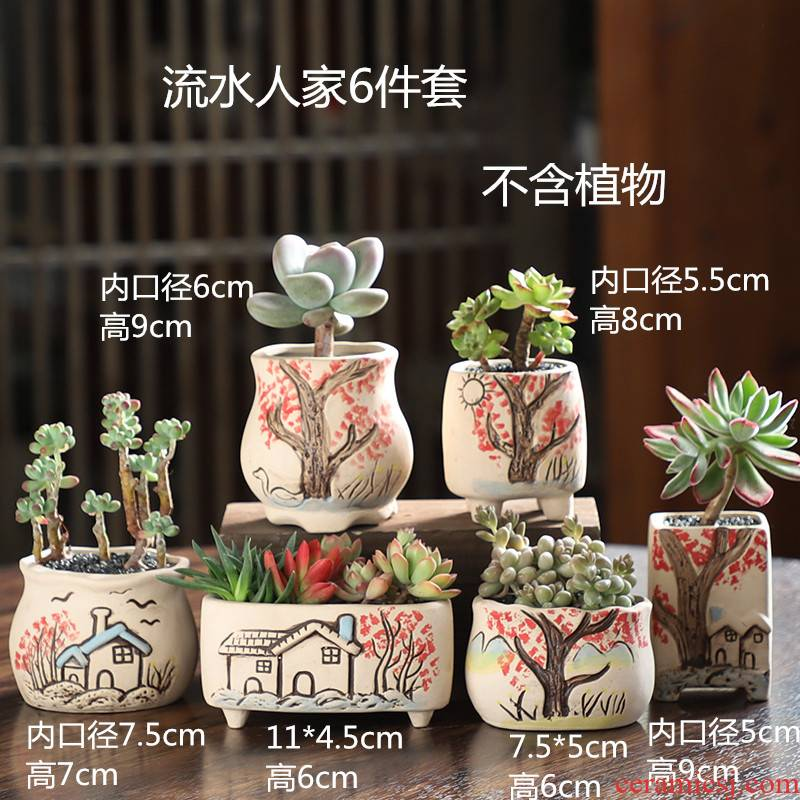 Fleshy flower pot large ceramic special creative breathable meaty plant basin clearance size flowerpot thumb wholesale