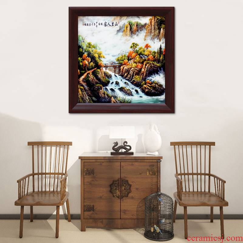 Hang a picture of modern home sitting room adornment jingdezhen ceramic wooden partition painting porch teahouse restaurants housewarming gift