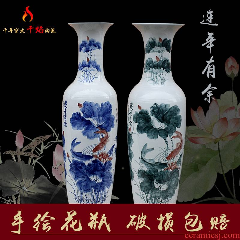 Jingdezhen ceramic hand - made lotus of large vase household of Chinese style living room a study office furnishing articles flower arrangement