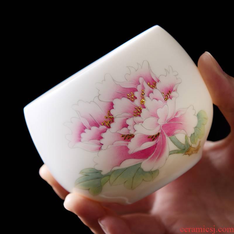 Dehua white porcelain hand - made teacup suet jade tea spot gold, kung fu tea master cup of pure manual sample tea cup single CPU