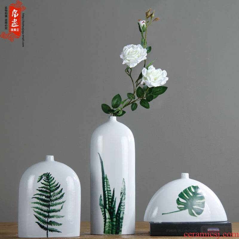 Green ceramic bottle clear fresh Air China flower furniture accessories flower implement bottle furnishing articles furnishing articles ceramic flower example room