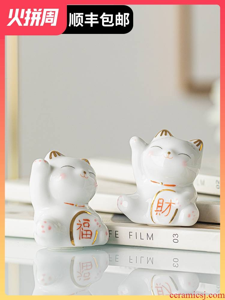 Plutus cat ceramic small place, a strange living room, the desktop car on - board, cake decoration accessories female group gift