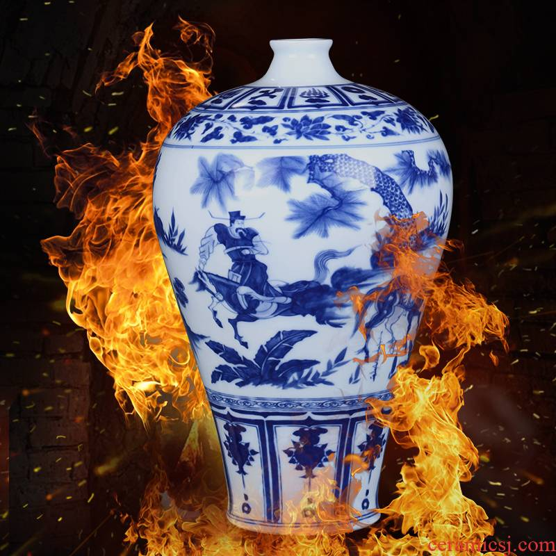 Jingdezhen ceramics vase archaize sitting room place of blue and white porcelain flower arrangement of TV ark, wine home decoration