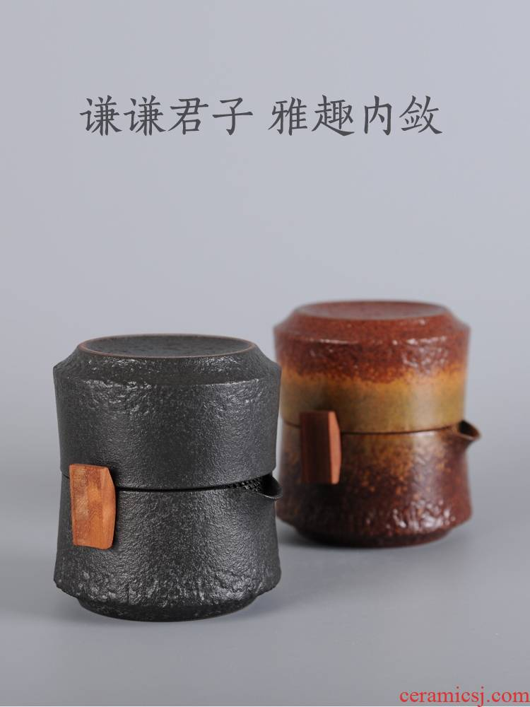 Black pottery to crack a cup of thick now pot of a portable travel travel tea set office 1 single ceramic cups