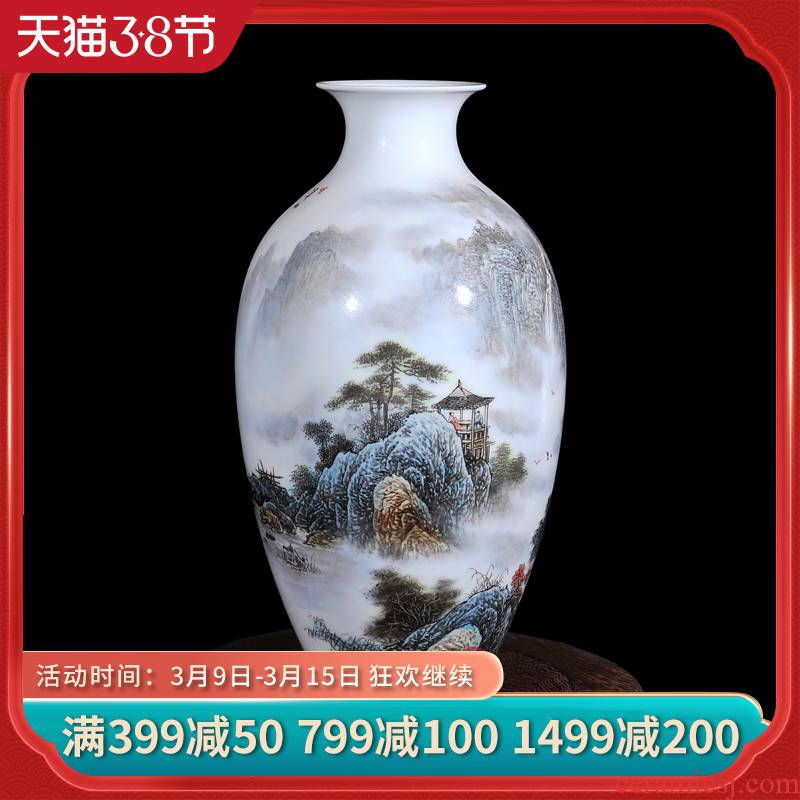 Dong - Ming li jingdezhen ceramics powder enamel vase flower brook mountain leisure home sitting room handicraft furnishing articles