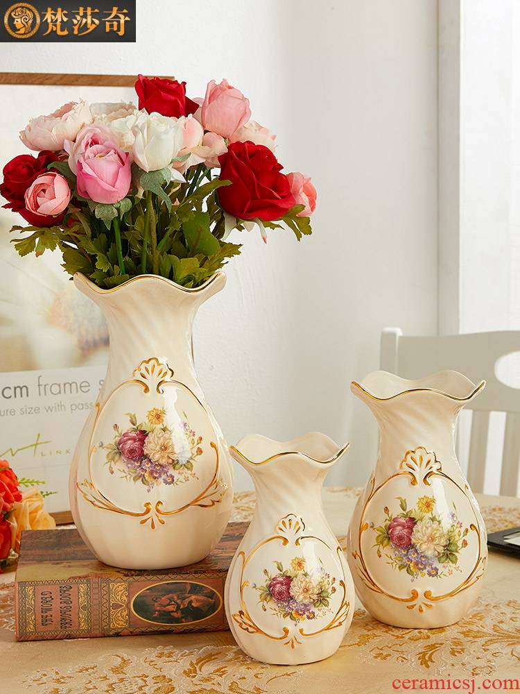 Light key-2 luxury floret bottle ceramic Nordic home furnishing articles sitting room TV ark, flower arrangement table dry flower vase