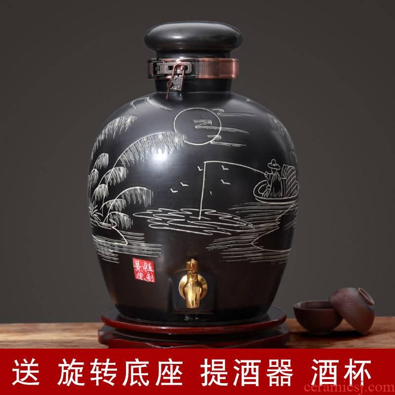 Jingdezhen jars bottle ceramic household 10 jins seal wine archaize 30 jins of 50 pounds it brewing wine
