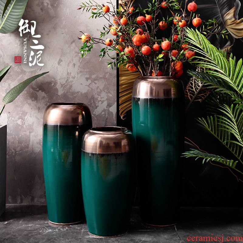 I and contracted light of new Chinese style key-2 luxury ground dry flower vases, flower arrangement sitting room place big exchanger with the ceramics decoration light