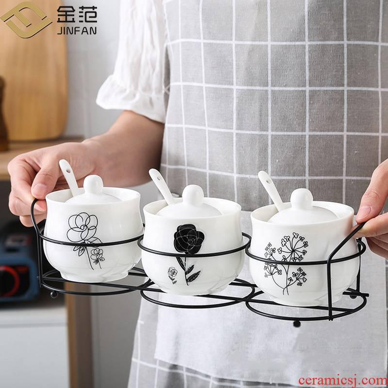 Ceramic seasoning jar of boreal Europe style kitchen utensils, black shelf caster household salt shaker three suits for