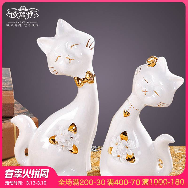 Wedding gift to send express cats creative household ceramics, bedroom adornment animal furnishing articles fashion