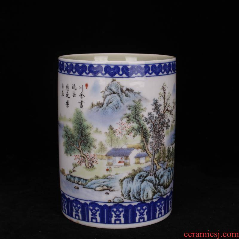 Jingdezhen bucket color peach blue tie up branch lines landscape brush pot Chinese style desk supplies four decorative furnishing articles