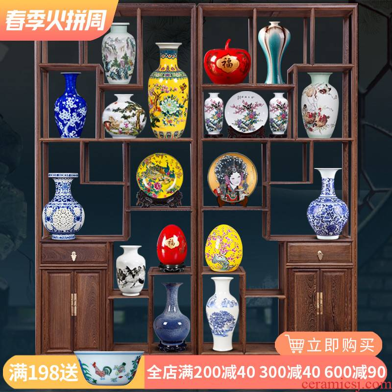 Jingdezhen ceramics furnishing articles Chinese blue and white porcelain vases, flower arrangement household decorates sitting room rich ancient frame handicraft