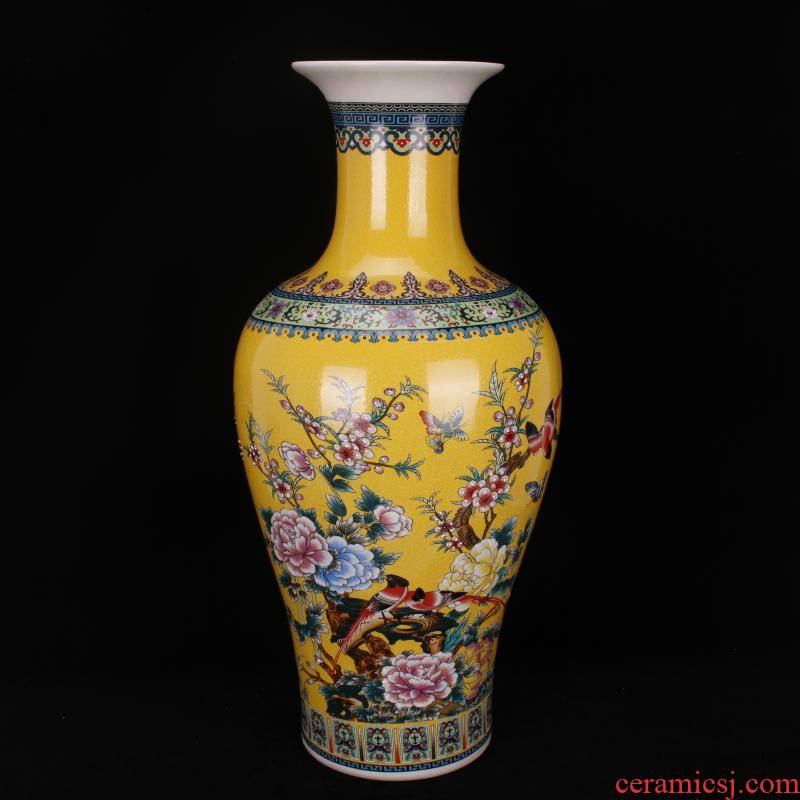 Jingdezhen imitation qianlong antique colored enamel painting of flowers and be born great goddess of mercy bottle Chinese style classical Ming and the qing dynasty vase furnishing articles