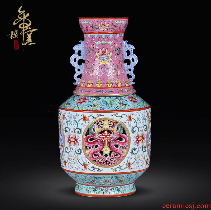Jingdezhen ceramic vase imitation the qing qianlong enamel see colour switch hollow out bottles of sitting room adornment handicraft furnishing articles which transform the mind