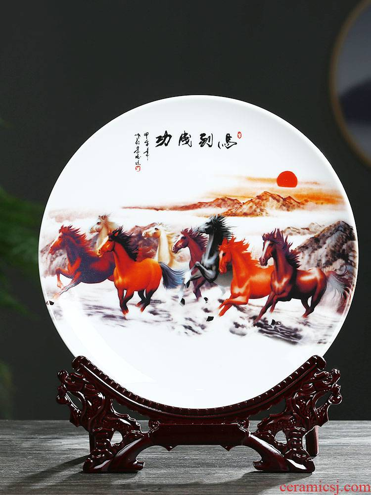 Jingdezhen ceramics decoration hanging dish by dish of Chinese style household porch wine rich ancient frame crafts office