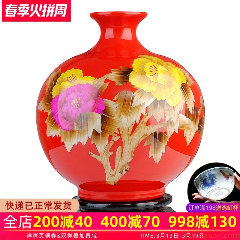 Jingdezhen ceramics vase furnishing articles sitting room flower arranging Chinese red festive wedding Chinese style household adornment porcelain