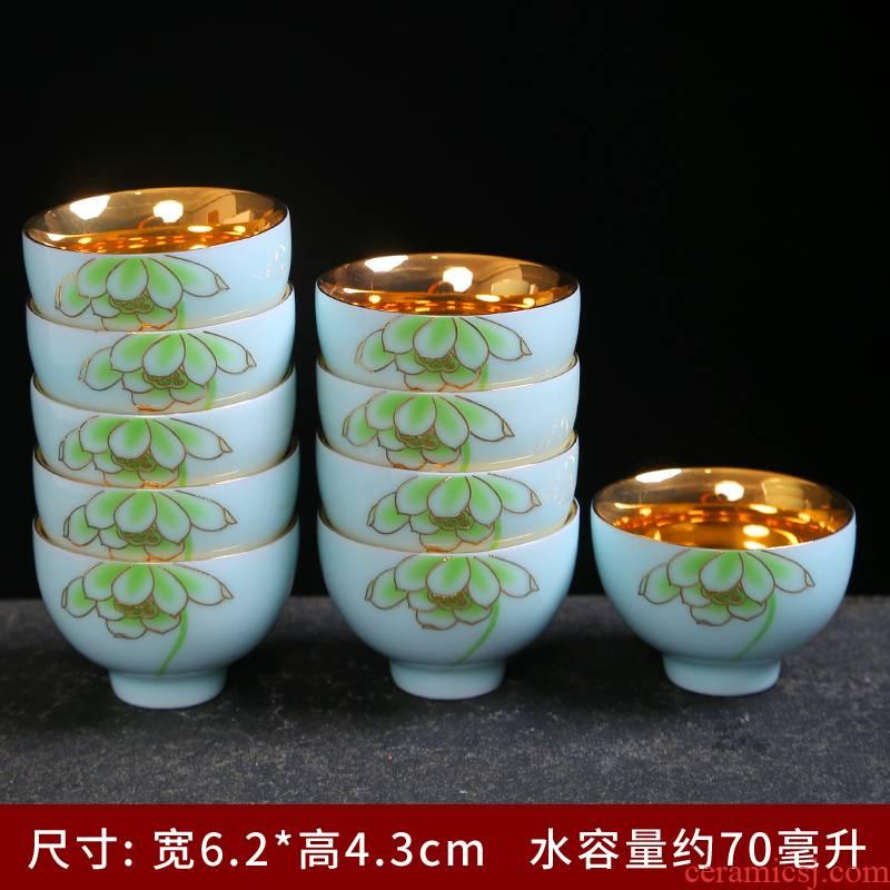 Celadon colored enamel gold cups of jingdezhen kung fu tea set 24 k gold master cup sample tea cup individual cup