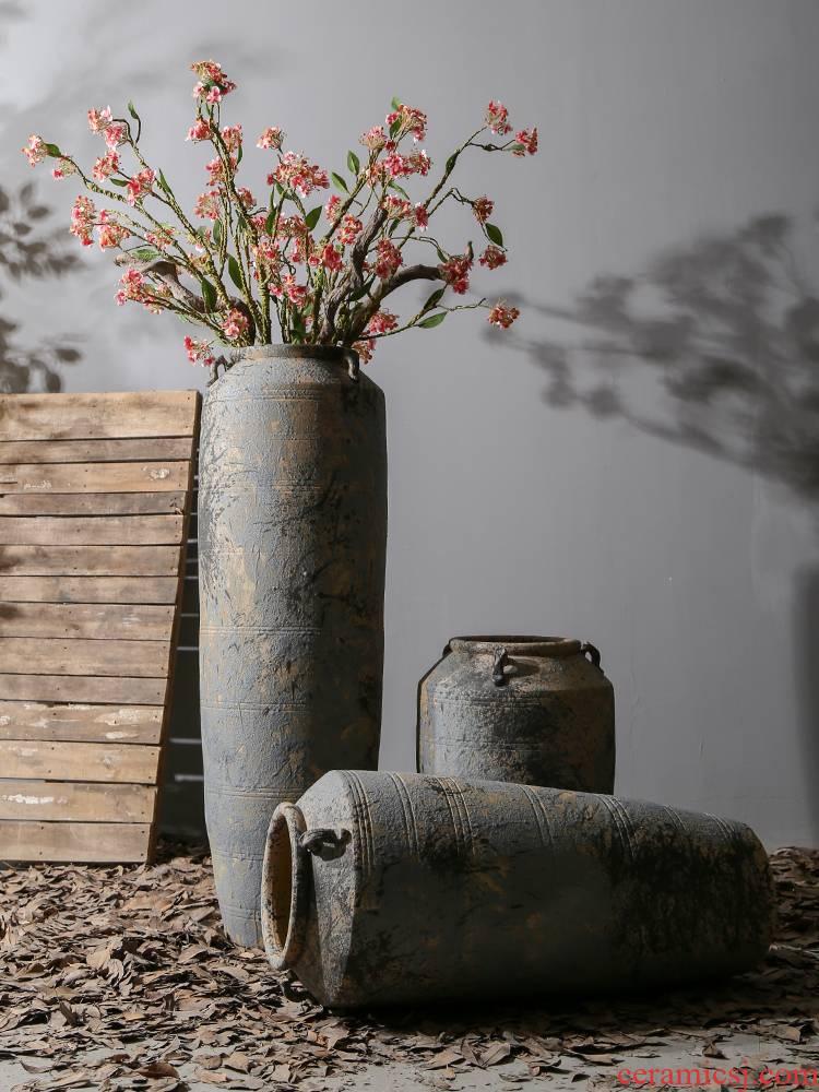 Jingdezhen creative pottery basin ceramic restoring ancient ways of large vase simulation flower arranging dried flowers sitting room decoration decoration parts