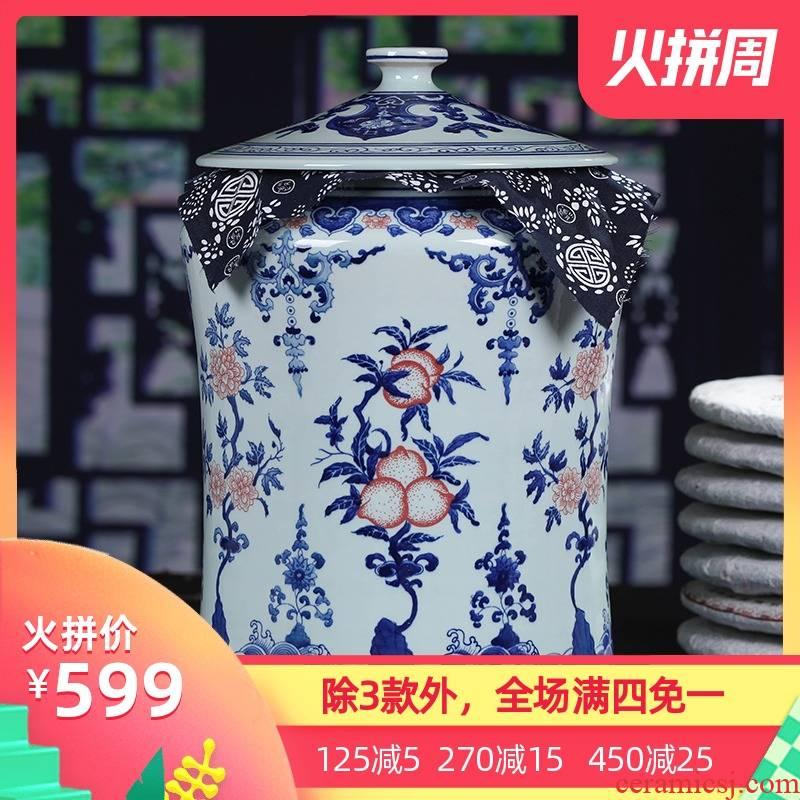 Jingdezhen ceramic hand - made large tea cake tin tea caddy fixings general gift box cake storage tanks