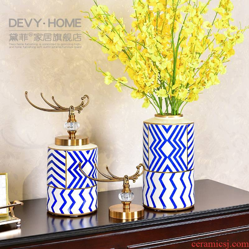 New Chinese style ceramic storage tank light key-2 luxury furnishing articles sitting room porch TV ark of tea table to receive as cans of soft adornment ornament