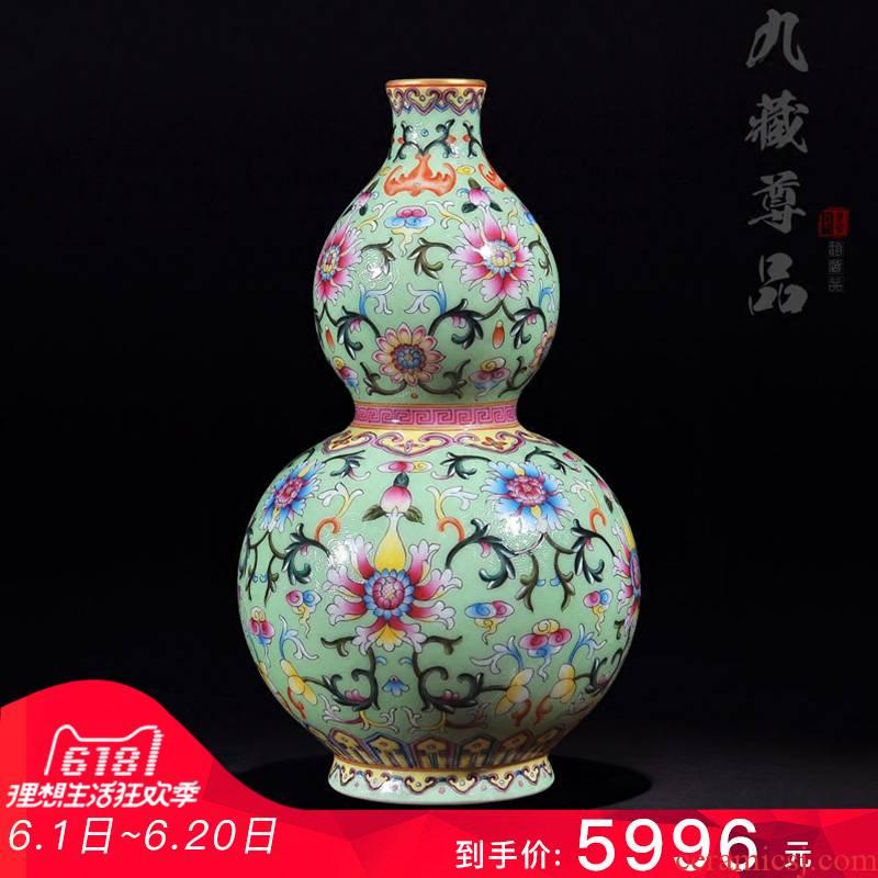 Jingdezhen ceramics antique hand - made grilled green pastel flower lotus flower vase bottle gourd crafts are sitting room