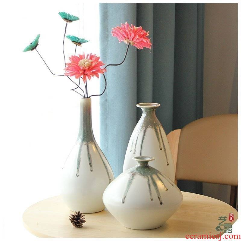 Vase furnishing articles ceramic white I and contracted fashion house sitting room adornment ornament soft adornment flow glaze