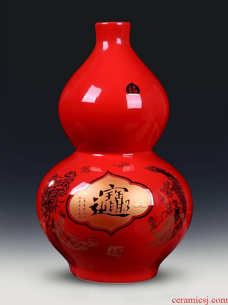 Jingdezhen ceramic vase furnishing articles Chinese red a thriving business big gourd flower arranging flower implement modern home decoration