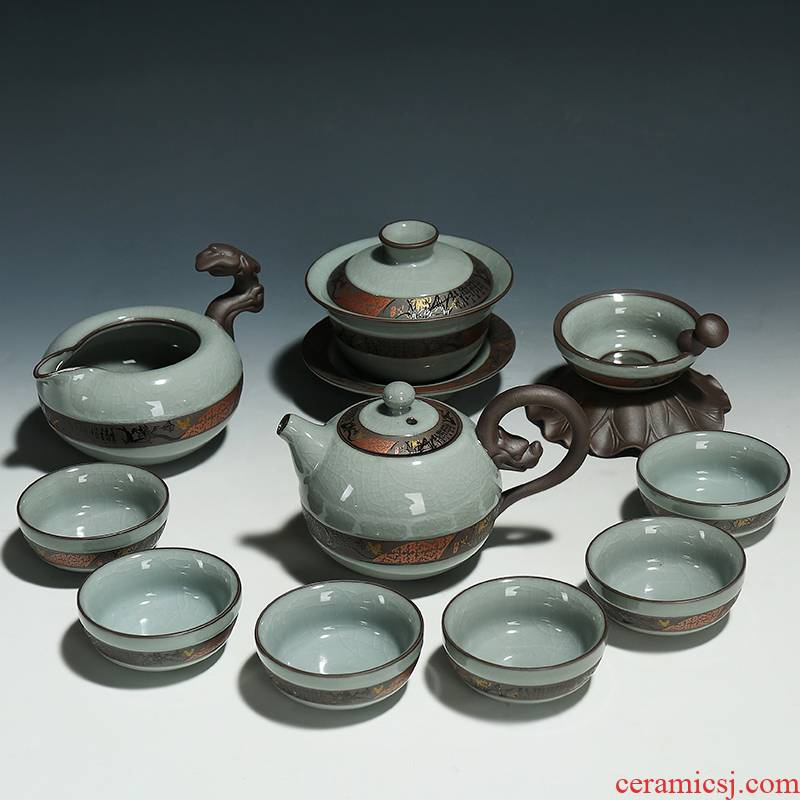 Elder brother up with porcelain of a complete set of kung fu tea set household piece of ice to crack open the set of ceramic gift boxes