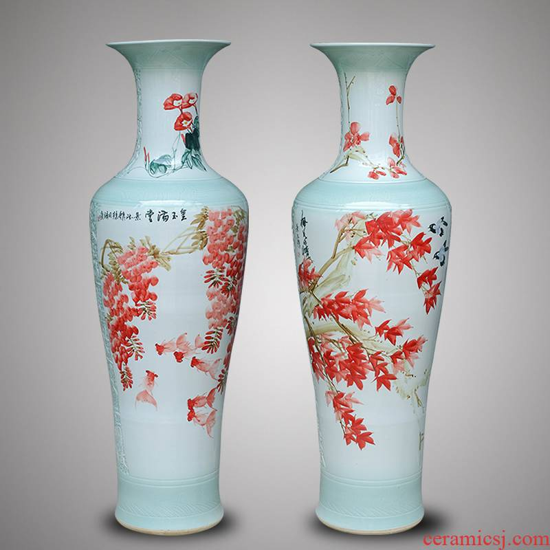 Jingdezhen ceramic hand - made vase of large modern classical Chinese style living room TV ark, porch housewarming gift