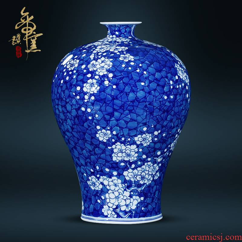 Jingdezhen ceramics kangxi archaize ice meimei bottle hand - made vases, of the sitting room porch decoration of the new Chinese style furnishing articles