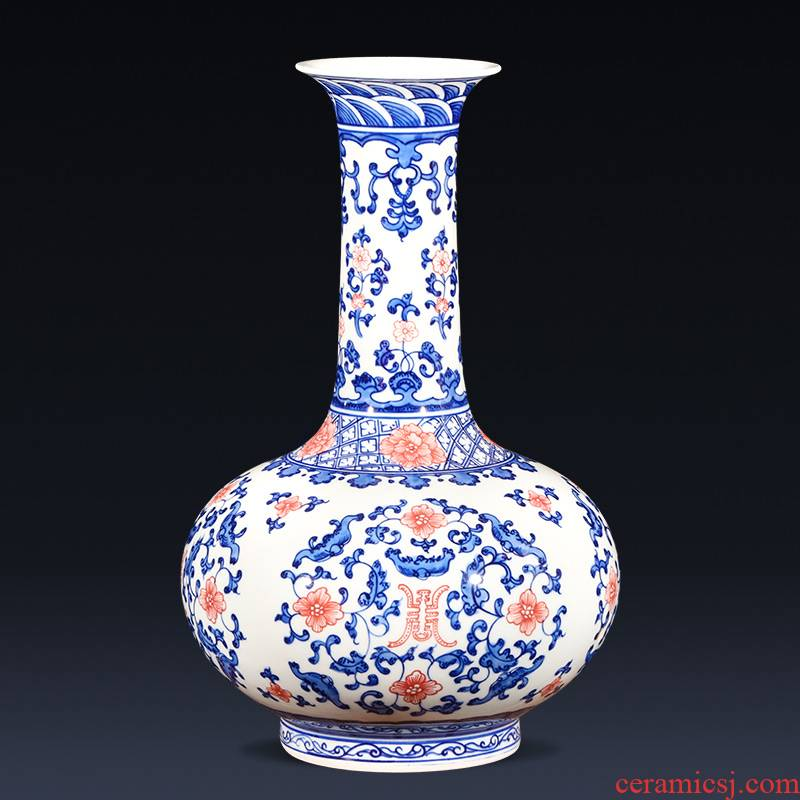 Jingdezhen ceramics imitation qianlong hand - made Chinese style restoring ancient ways is blue and white porcelain vase wine sitting room adornment is placed