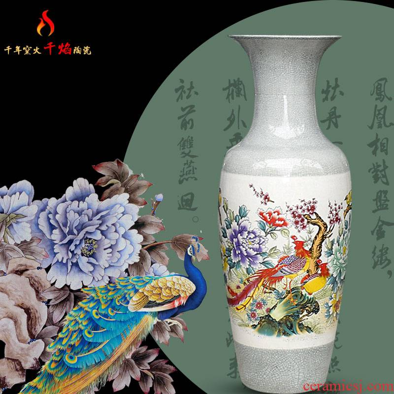 Jingdezhen ceramic sitting room of large vase household flower arranging hotel villa feng shui act the role ofing is tasted furnishing articles birds pay homage to the king