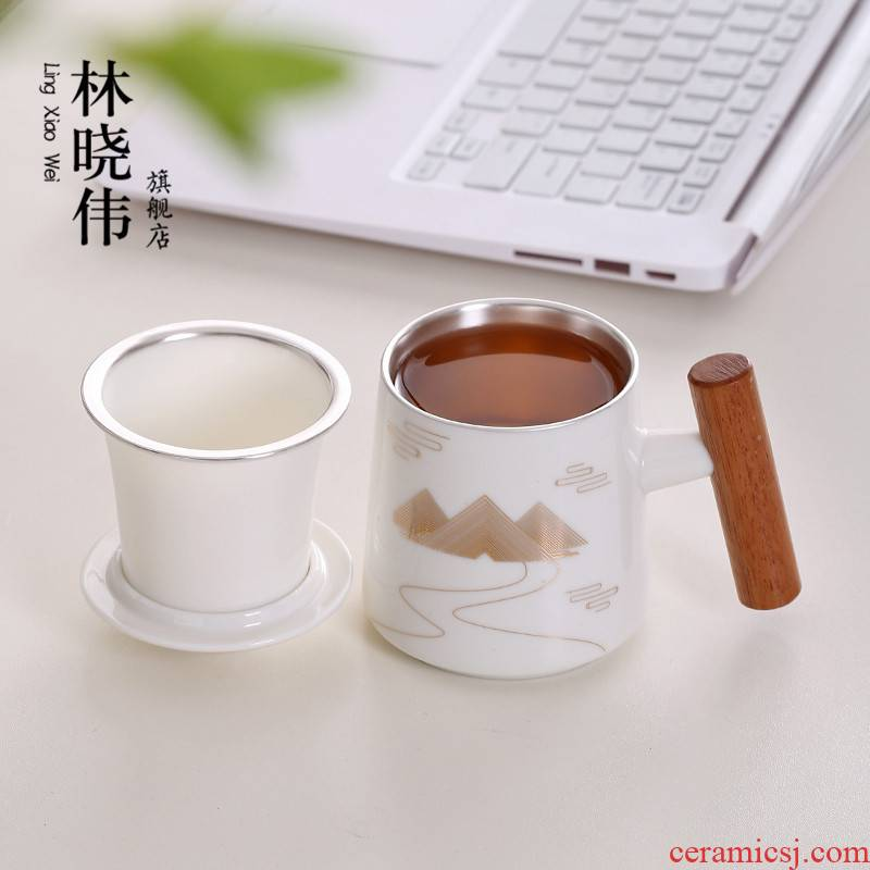 Ceramic coppering. As silver tea cup 999 sterling silver cup of filtered personal cup with cover cup home office cup tea separation