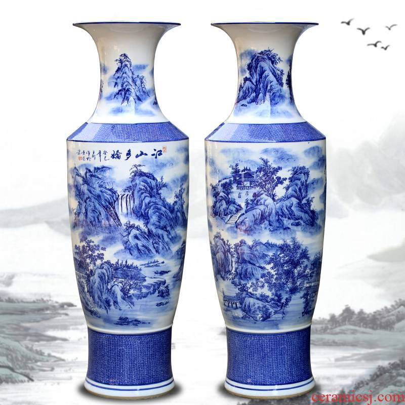 Jingdezhen ceramics large ground blue and white porcelain vase landscape furnishing articles of the new Chinese style hotel sitting room adornment flower arrangement