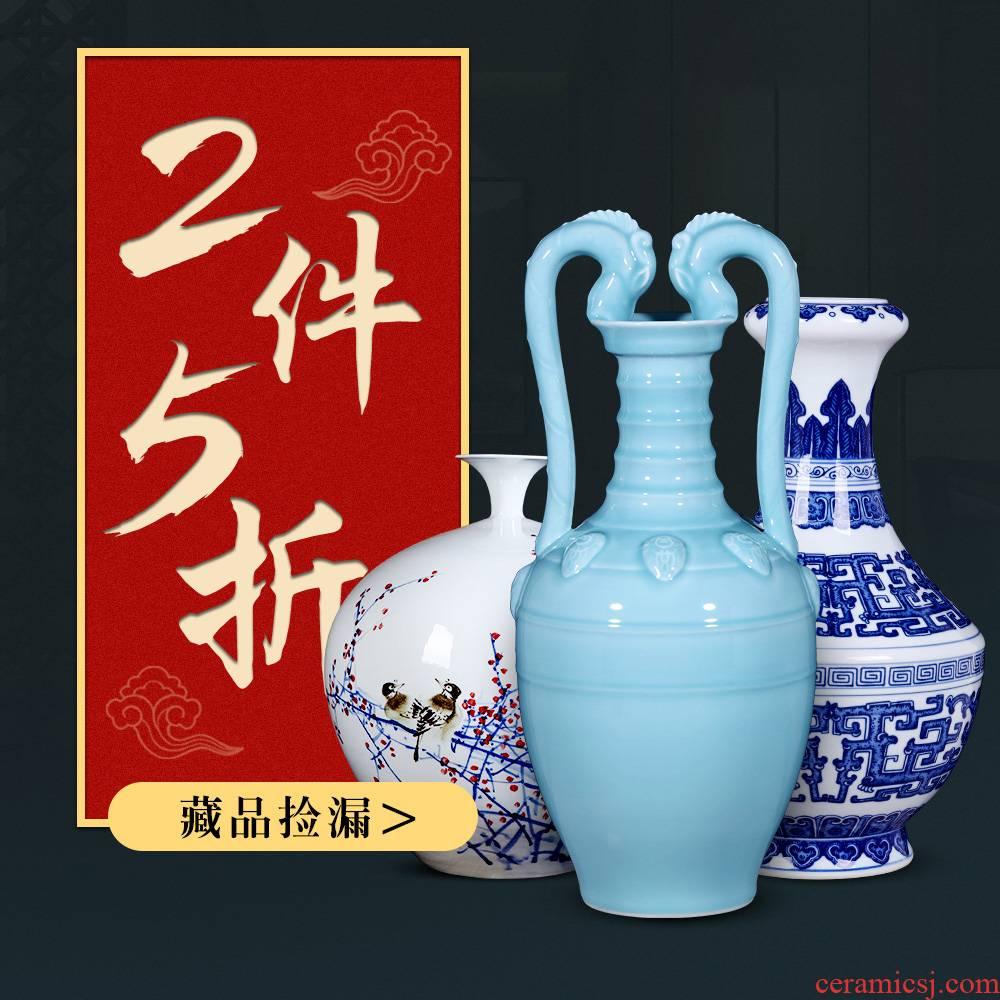 2 pieces of 5 fold jingdezhen blue and white porcelain ceramic Chinese antique hand - made sitting room adornment vase furnishing articles flower arrangement