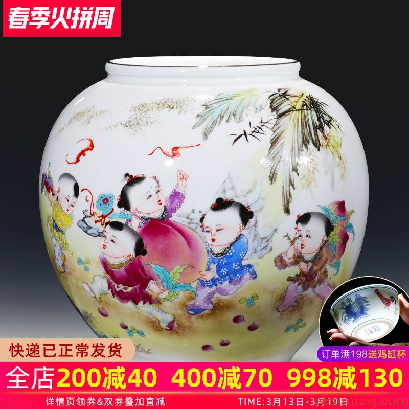Jingdezhen ceramics vase pure manual gulp GuanPing new Chinese style household living room TV ark adornment furnishing articles