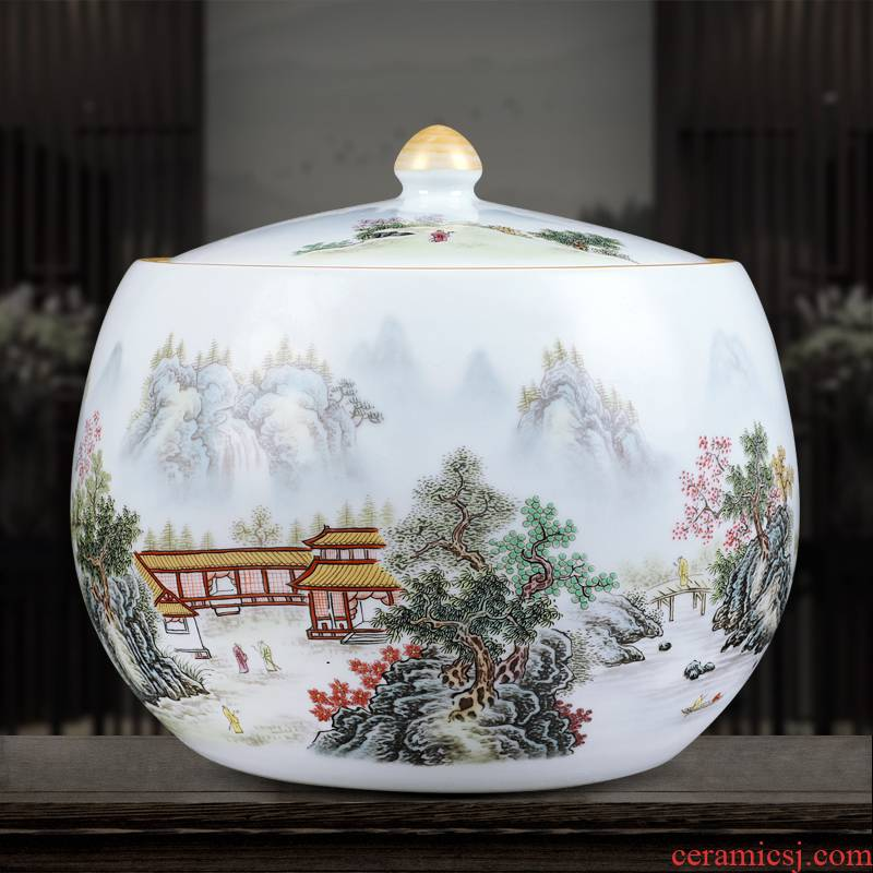 Jingdezhen blue and white ceramics powder enamel vase XianGe the qing hand - made home sitting room adornment is placed in the tea pot