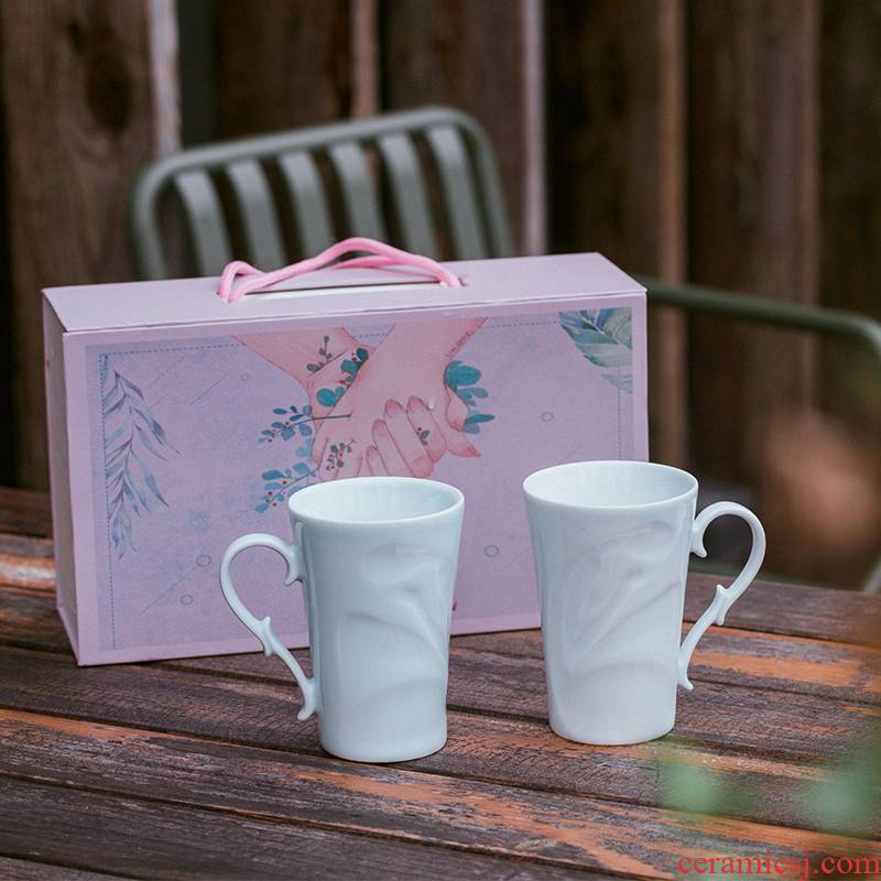 Chinese mark cup ceramic cups milk cup office cup breakfast cup of valentine 's day, birthday gift couples of CPU