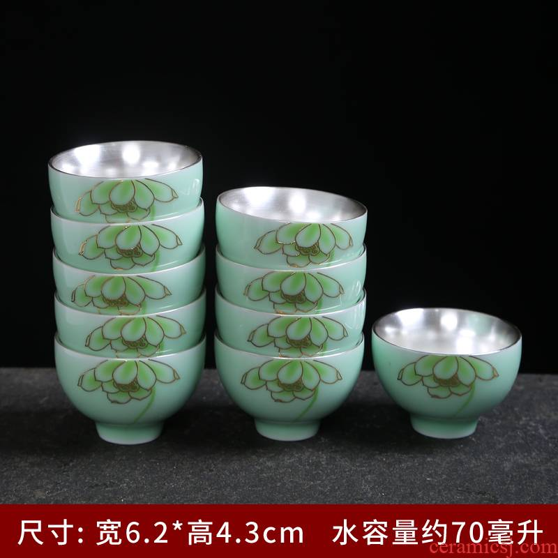 Celadon household ceramics coppering. As ru up market metrix who silver cup cup single cup sample tea cup kung fu tea tea cups, teapots