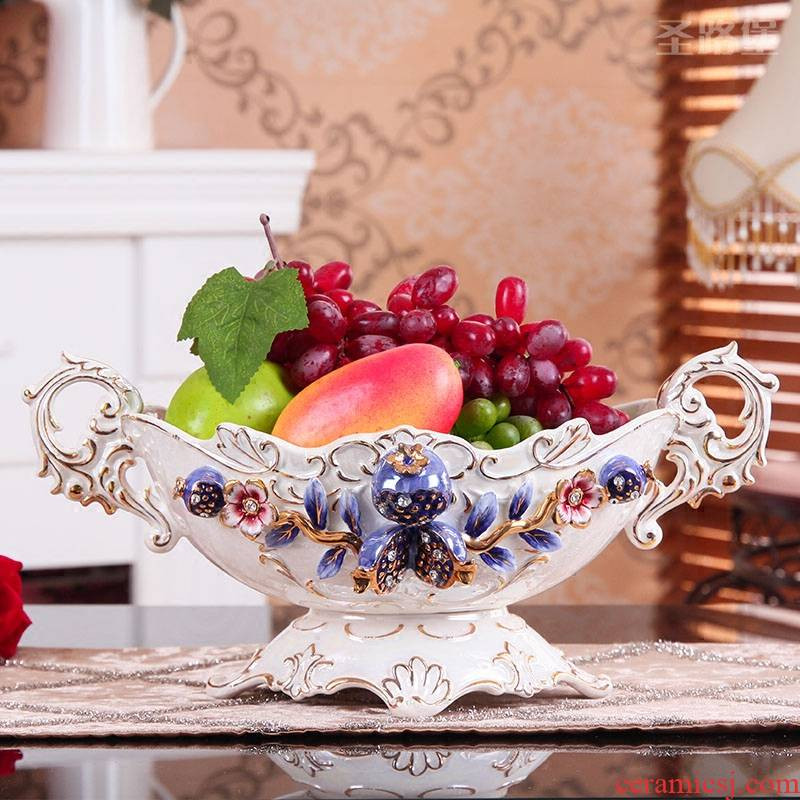 SAN road fort European fruit bowl bowl ceramic large home sitting room compote creative decorations European fruit tray