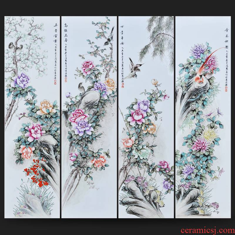 Jingdezhen ceramics Feng Huiying hand - made porcelain plate painting birds and flowers, (2) the four screen sitting room adornment household furnishing articles
