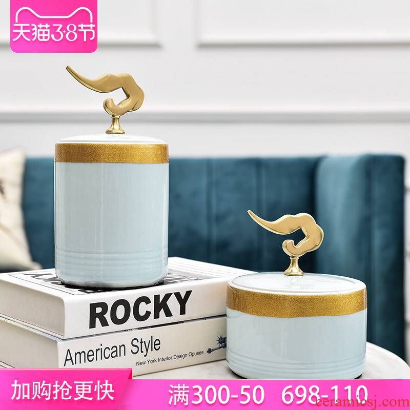 New Chinese style ceramic xiangyun storage tank furnishing articles example room sitting room ark, TV ark, soft decoration decoration