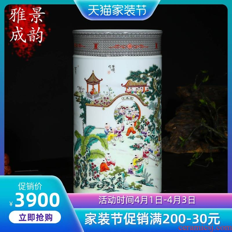 Jingdezhen ceramics master hand brush pot furnishing articles household act the role ofing is tasted creative desk of Chinese style arts and crafts