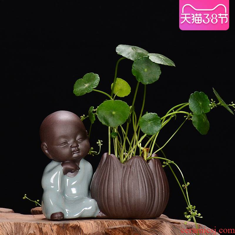 Zen monk violet arenaceous hydroponic container other creative desktop furnishing articles, fleshy copper grass flower pot wholesale clearance